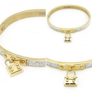 Jewelry - 🆕Padlock Charm Gold Crystal Pave Bangle